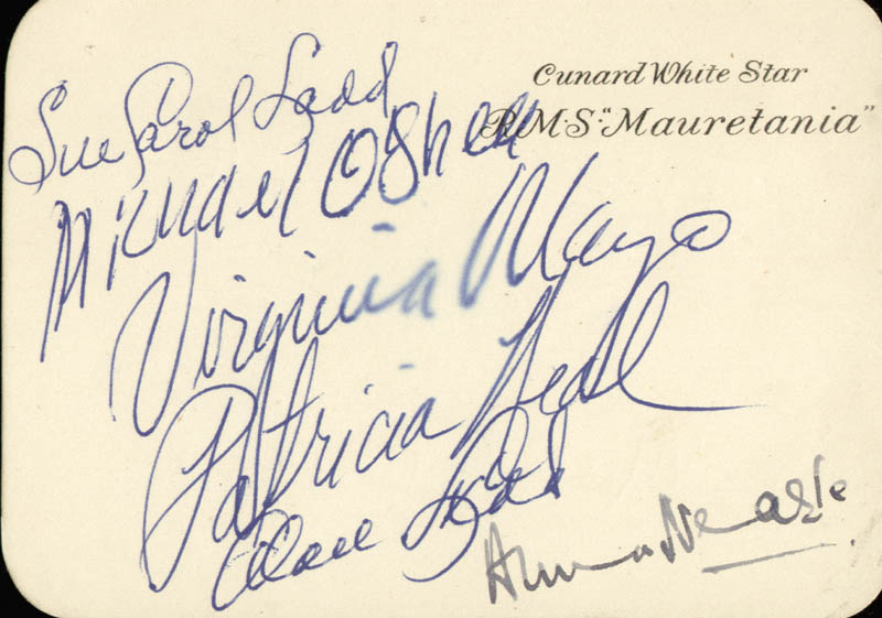 Image 1 for Alan Ladd - Autograph co-signed by: Patricia Neal, Sue Carol Ladd, Virginia Mayo, Anna Neagle, Michael O'Shea - HFSID 80017