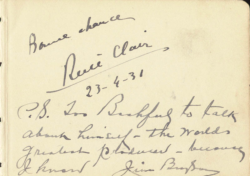 Image 1 for Rene Clair - Autograph Sentiment Signed 04/23/1931 co-signed by: James 'Jim' Bryson, Jimmy Nervo - HFSID 80022