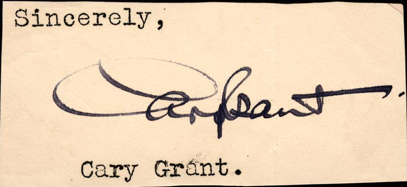 Image 1 for Cary Grant - Autograph - HFSID 80041