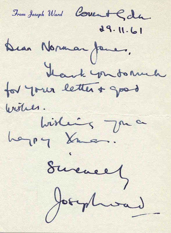 Image 1 for Joseph Ward - Autograph Letter Signed 11/29/1961 - HFSID 80316