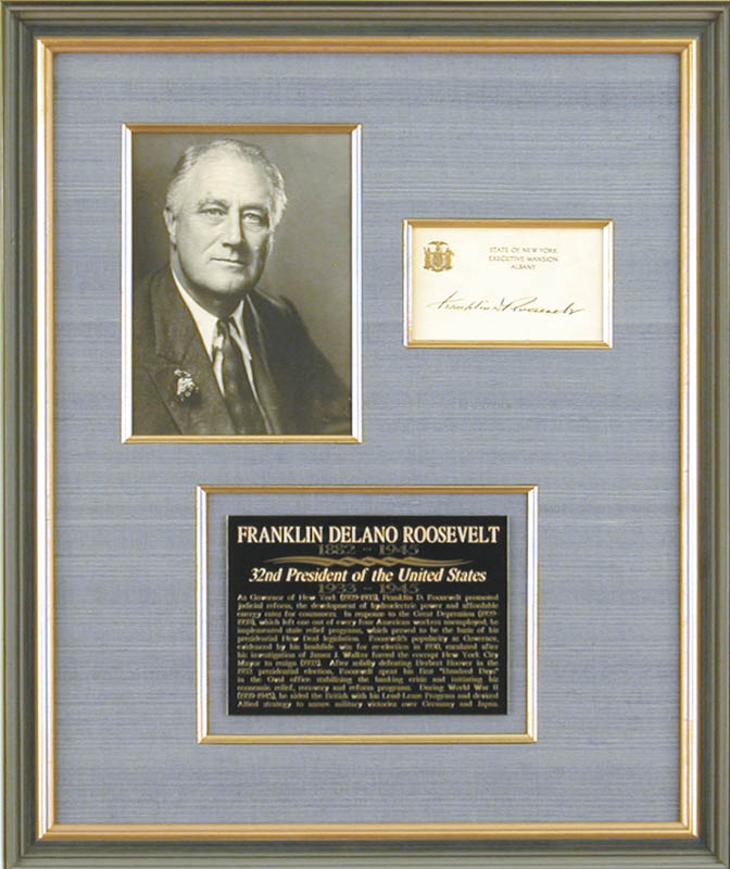 Image 1 for President Franklin D. Roosevelt - Engraved Card Signed - HFSID 80662