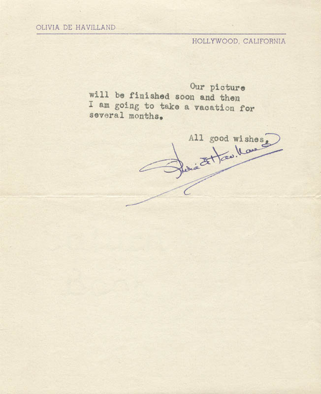 Image 1 for Olivia De Havilland - Typed Letter Signed 08/21/1945 - HFSID 80684