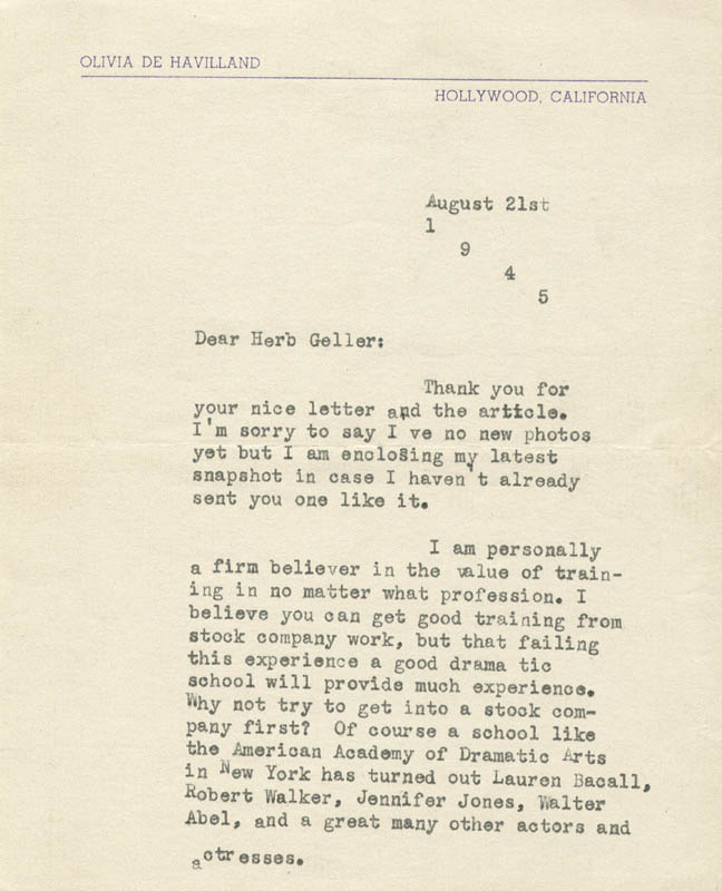 Image 3 for Olivia De Havilland - Typed Letter Signed 08/21/1945 - HFSID 80684