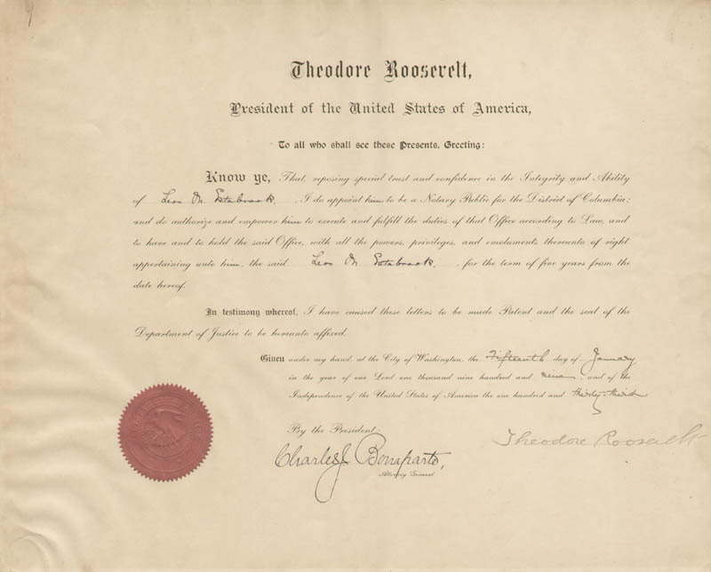 Image 1 for President Theodore Roosevelt - Civil Appointment Signed 01/15/1909 co-signed by: Charles J. Bonaparte - HFSID 80706