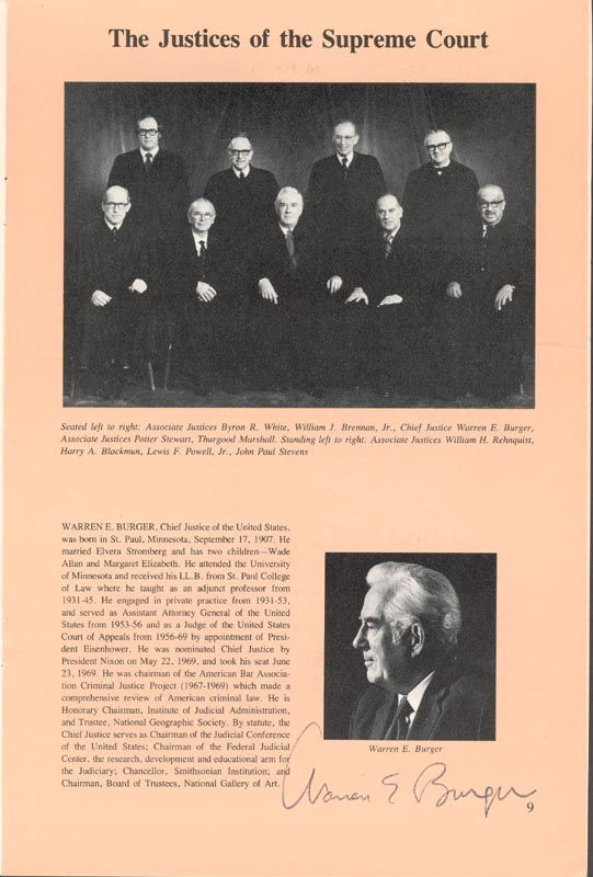 Image 1 for Chief Justice Warren E. Burger - Pamphlet Signed with co-signers - HFSID 80722