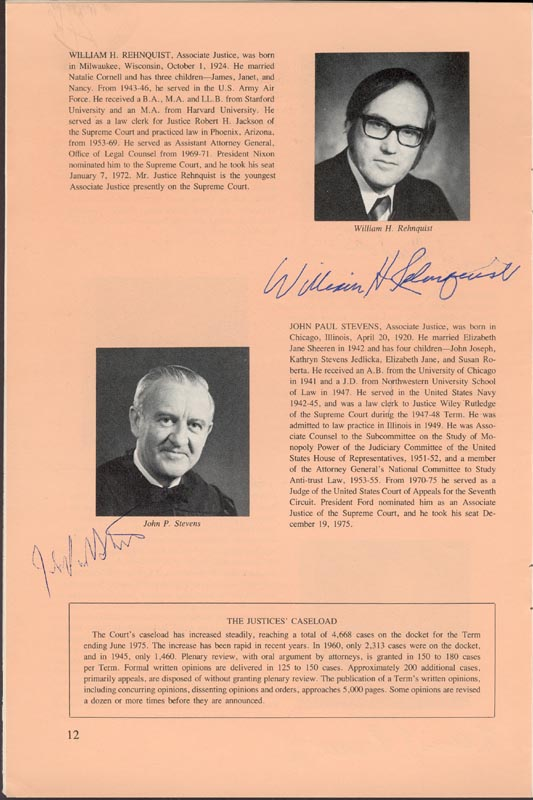 Image 5 for Chief Justice Warren E. Burger - Pamphlet Signed with co-signers - HFSID 80722
