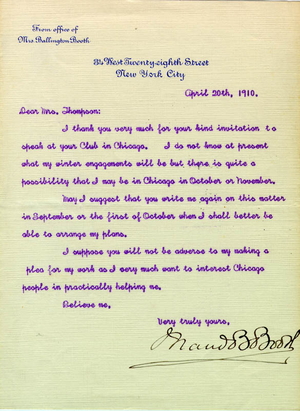 Image 1 for Maud Ballington Booth - Typed Letter Signed 04/20/1910 - HFSID 80727