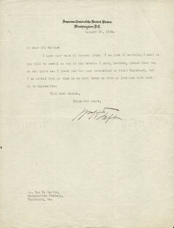 Image 1 for President William H. Taft - Typed Letter Signed 01/20/1924 - HFSID 81287