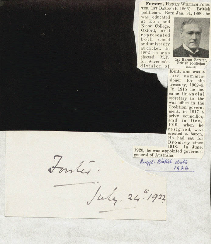 Image 1 for Governor Henry William Forster - Autograph 07/24/1922 - HFSID 81543