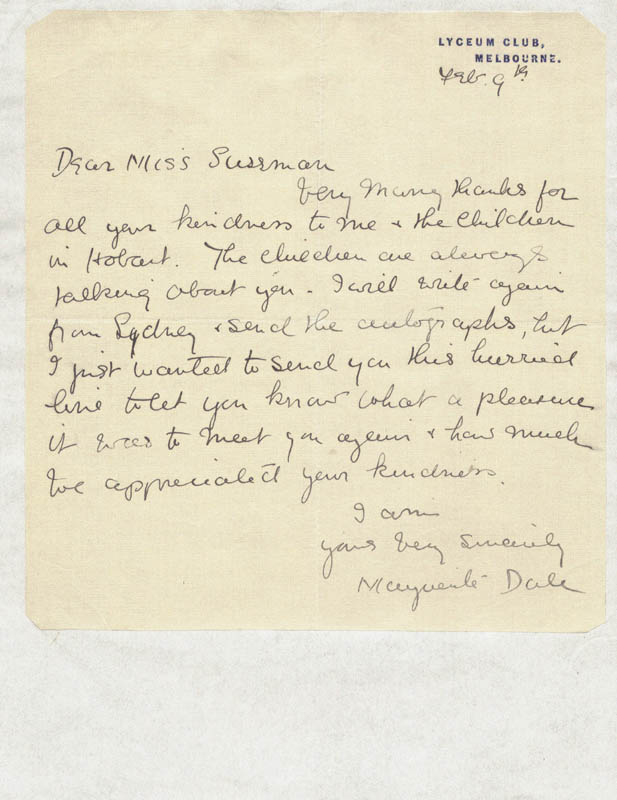 Image 1 for Marguerite Ludovia Dale - Autograph Letter Signed 2/9 - HFSID 81545