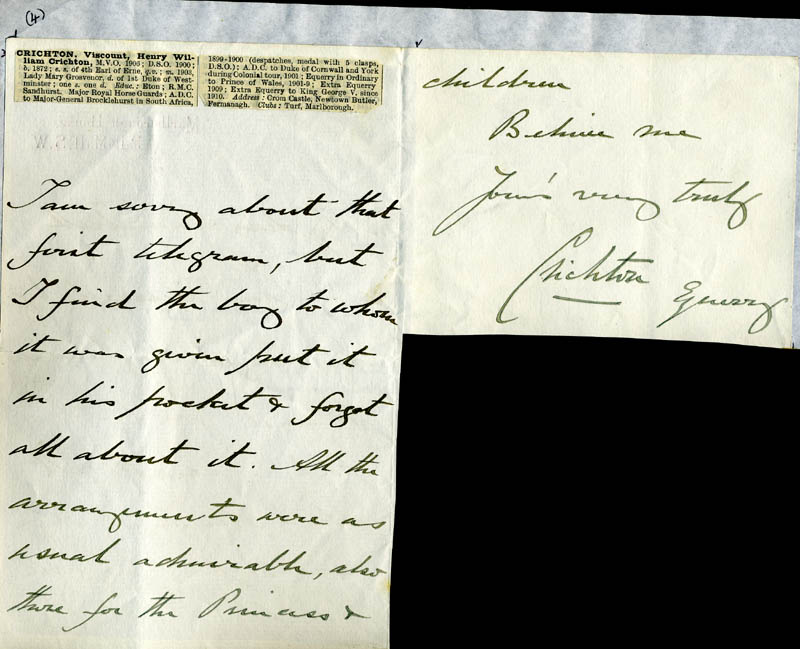 Image 1 for Viscount Crichton - Autograph Letter Signed 10/11 - HFSID 81614