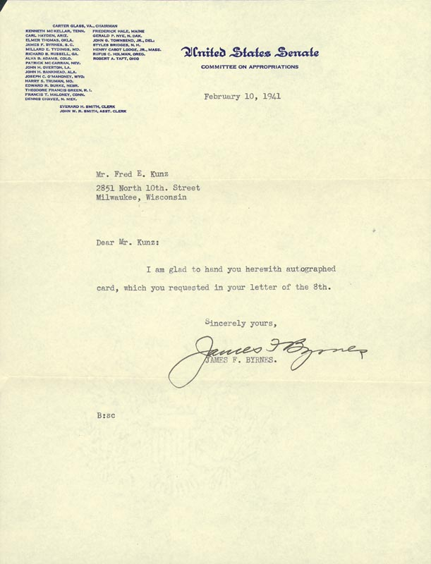 Image 1 for Associate Justice James F. Byrnes - Typed Letter Signed 02/10/1941 - HFSID 82249