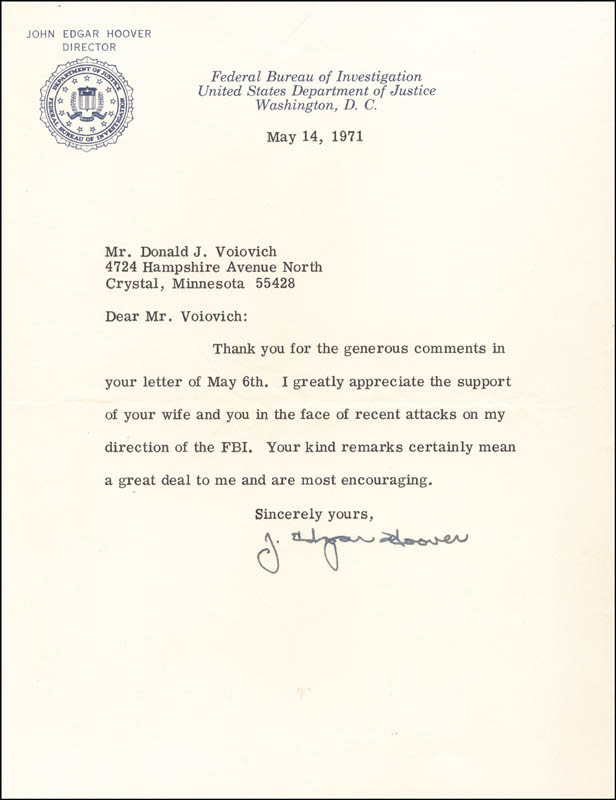 Image 1 for J. Edgar Hoover - Typed Letter Signed 05/14/1971 - HFSID 82313
