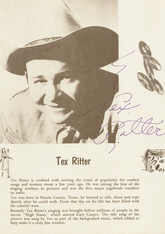 Image 1 for Tex Ritter - Magazine Page Signed - HFSID 82701