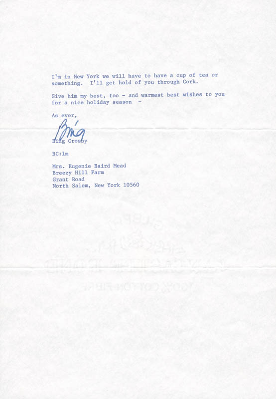 Image 1 for Bing Crosby - Typed Letter Signed 12/30/1976 - HFSID 82793