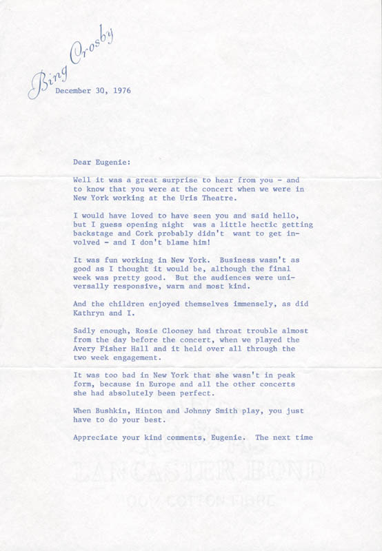 Image 3 for Bing Crosby - Typed Letter Signed 12/30/1976 - HFSID 82793