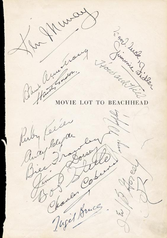 Image 1 for Edgar Kennedy - Autograph 1945 with co-signers - HFSID 82924