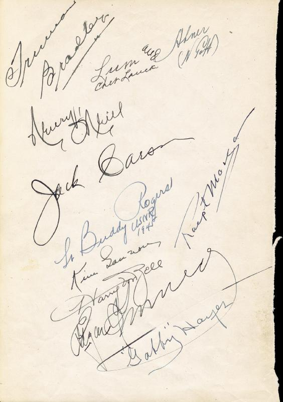 Image 3 for Edgar Kennedy - Autograph 1945 with co-signers - HFSID 82924