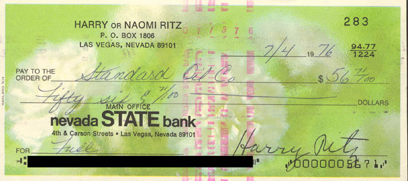 Image 1 for The Ritz Brothers (Harry Ritz) - Autographed Signed Check 07/04/1976 - HFSID 82927
