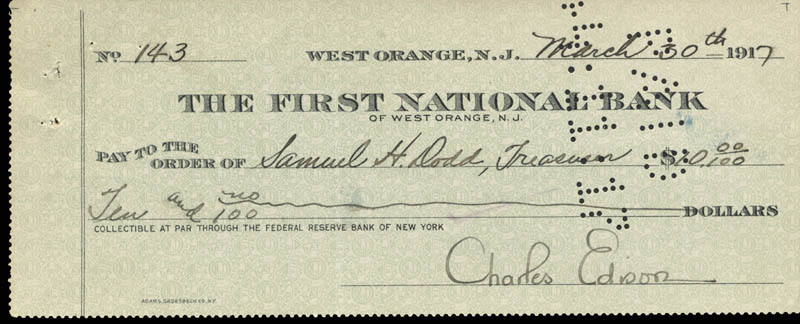 Image 1 for Governor Charles Edison - Autographed Signed Check 03/30/1917 - HFSID 83080