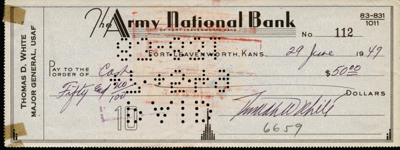 Image 1 for General Thomas D. White - Autographed Signed Check 06/29/1949 - HFSID 83148