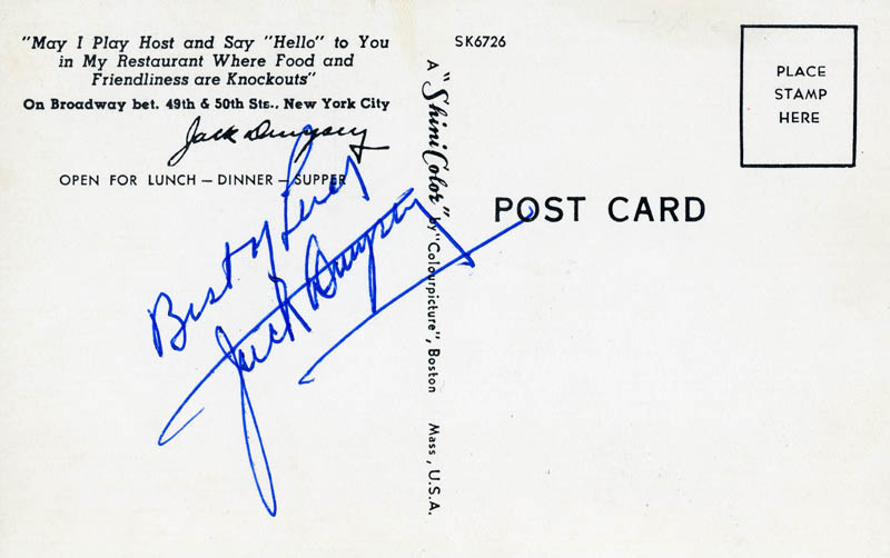 Image 1 for Jack Dempsey - Picture Post Card Signed - HFSID 832