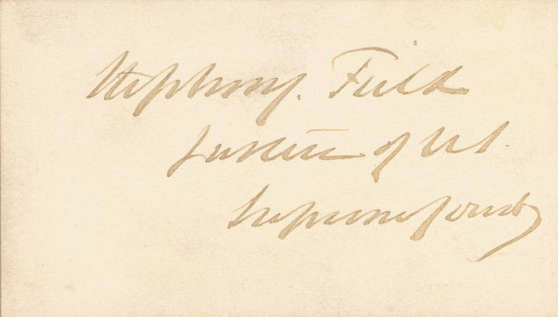 Image 1 for Associate Justice Stephen J. Field - Calling Card Signed - HFSID 83234