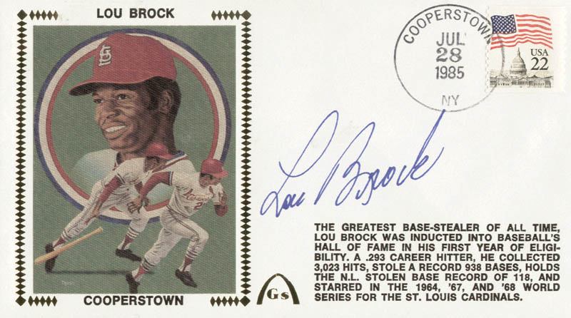 Image 1 for Lou Brock - Commemorative Cover Signed - HFSID 83254