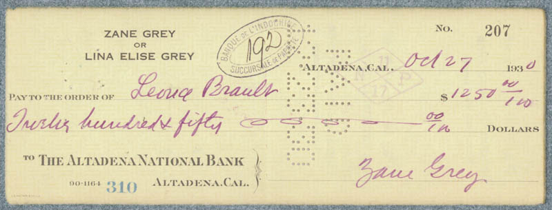 Image 1 for Zane Grey - Autographed Signed Check 10/27/1930 - HFSID 83304