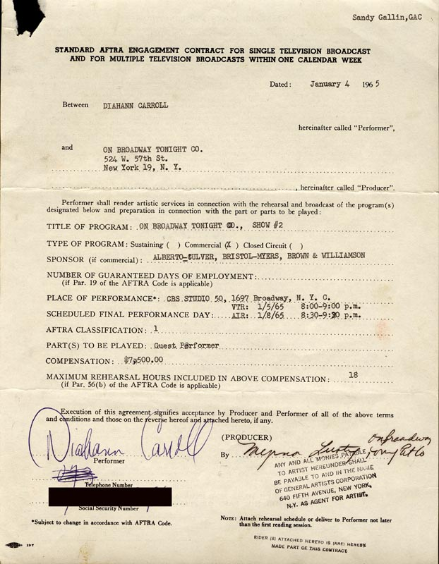 Image 1 for Diahann Carroll - Document Signed 01/04/1965 - HFSID 83335