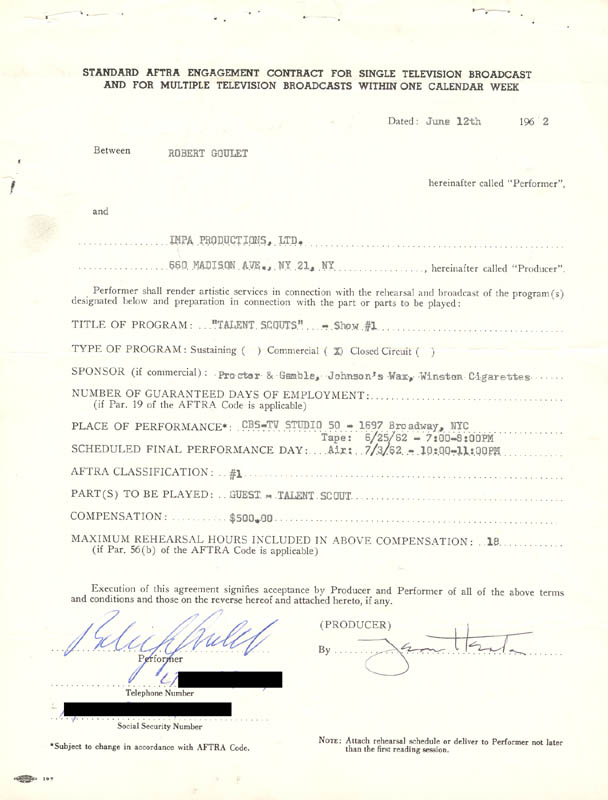 Image 1 for Robert Goulet - Contract Signed 06/12/1962 - HFSID 83342