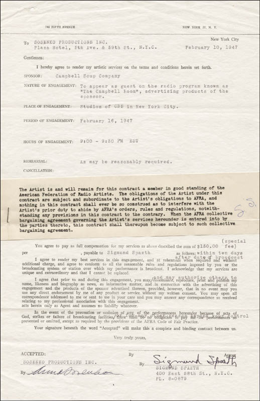 Image 1 for Sigmund Spaeth - Contract Signed 02/10/1947 co-signed by: Anna Sosenko - HFSID 83347