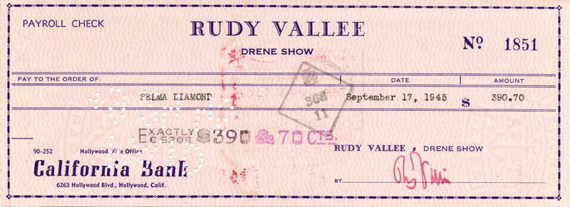 Image 1 for Rudy Vallee - Autographed Signed Check 09/17/1945 co-signed by: Selma Diamond - HFSID 83369