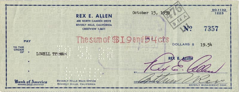 Image 1 for Rex Allen - Autographed Signed Check 10/15/1959 - HFSID 83370