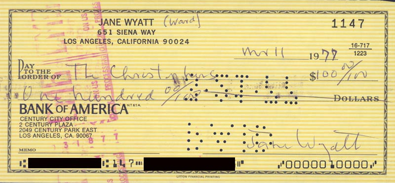 Image 1 for Jane Wyatt - Autographed Signed Check 03/11/1977 - HFSID 83374