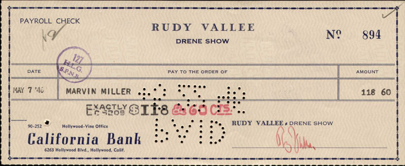 Image 1 for Rudy Vallee - Autographed Signed Check 05/07/1946 co-signed by: Marvin Miller - HFSID 83376