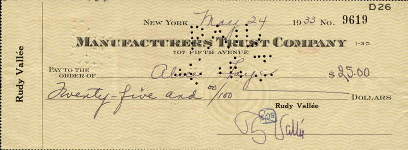 Image 1 for Rudy Vallee - Autographed Signed Check 05/24/1933 co-signed by: Alice Faye - HFSID 83378