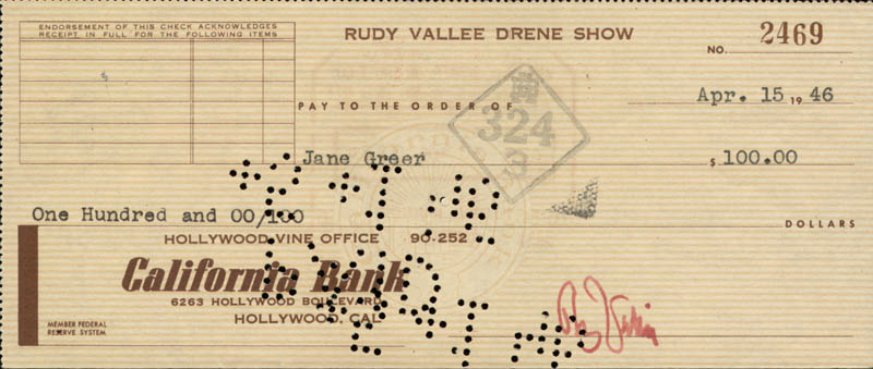 Image 1 for Rudy Vallee - Autographed Signed Check 04/15/1946 co-signed by: Jane Greer - HFSID 83379