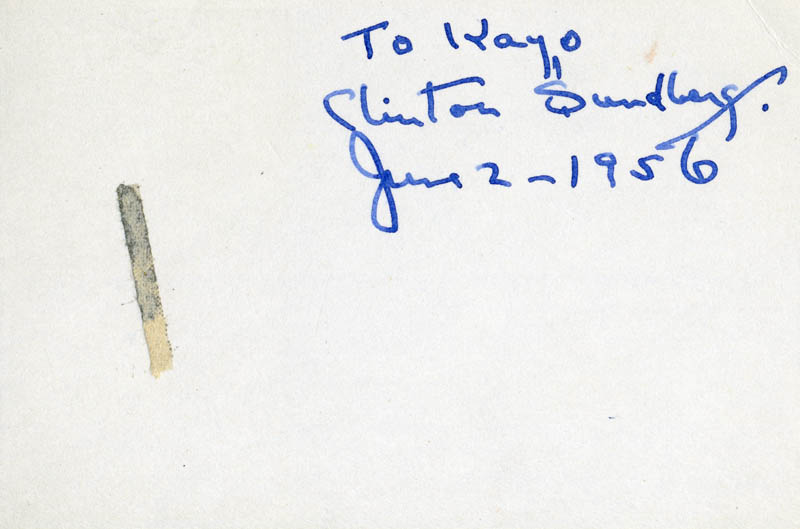 Image 1 for Clinton Sundberg - Inscribed Signature 06/02/1956 - HFSID 83541