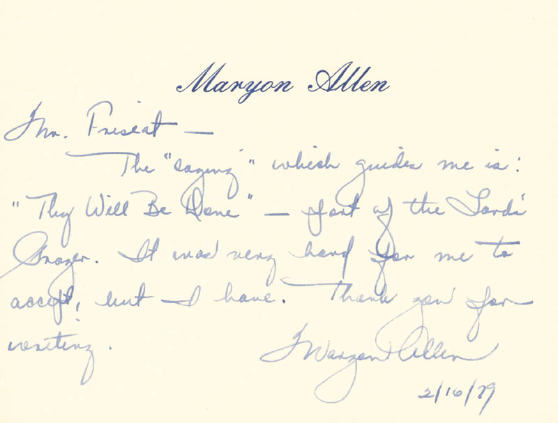 Image 1 for Maryon Allen - Autograph Note Signed 02/16/1979 - HFSID 83575