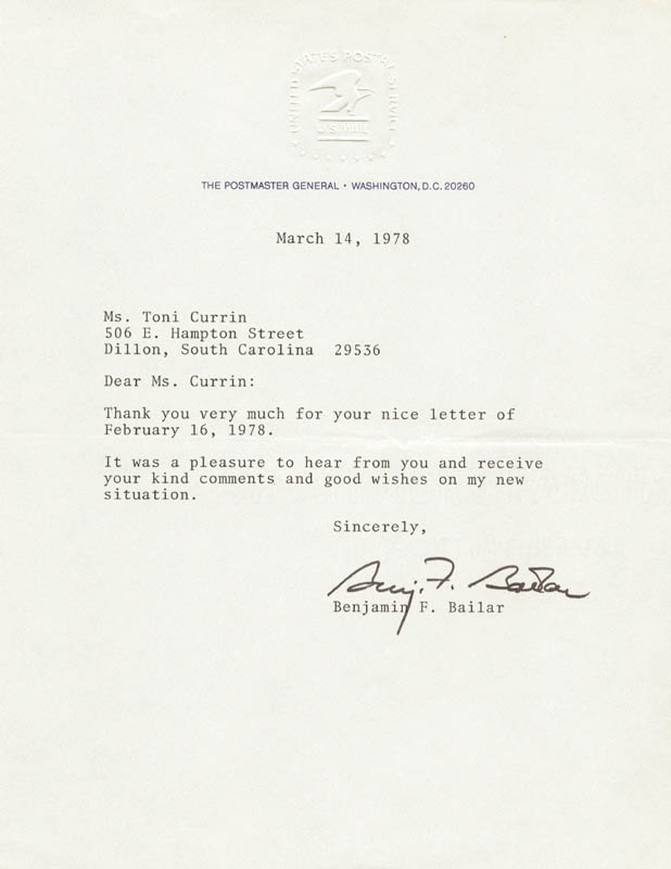 Image 1 for Benjamin Franklin Bailar - Typed Letter Signed 03/14/1978 - HFSID 83581