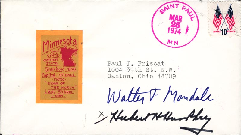 Image 1 for Vice President Hubert H. Humphrey - Envelope Signed Circa 1974 - HFSID 83676