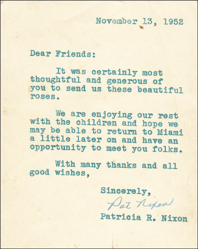 Image 1 for First Lady Patricia R. Nixon - Typed Letter Signed 11/13/1952 - HFSID 83744