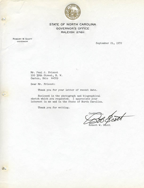 Image 1 for Governor Robert W. Scott (Nc Governor) - Typed Letter Signed 09/21/1972 - HFSID 83781