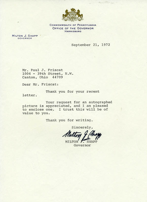 Image 1 for Governor Milton J. Shapp - Typed Letter Signed 09/21/1972 - HFSID 83787