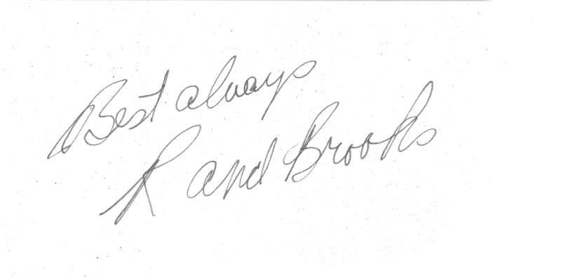 Image 1 for Rand Brooks - Autograph Sentiment Signed - HFSID 83889