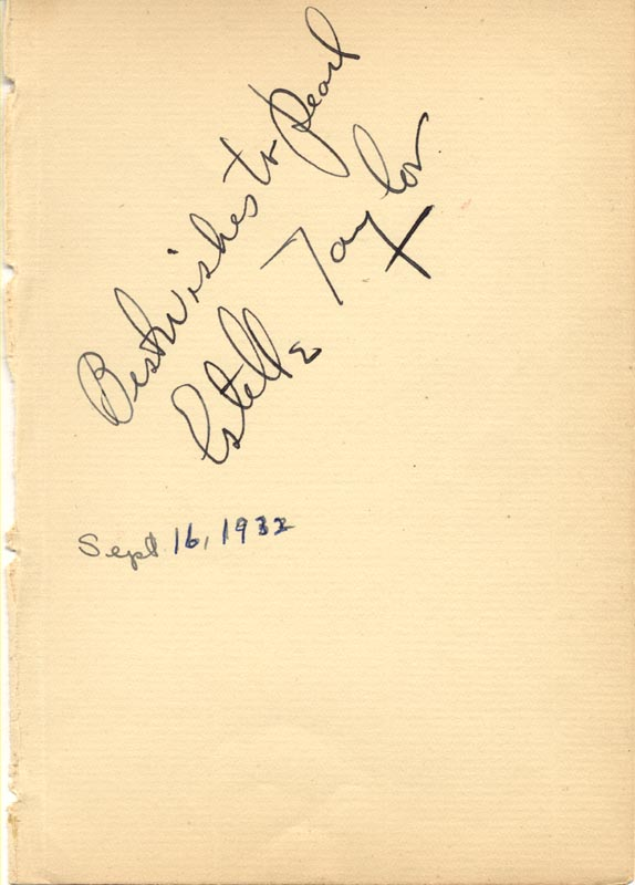 Image 1 for Estelle Taylor - Inscribed Signature Circa 1932 - HFSID 83950