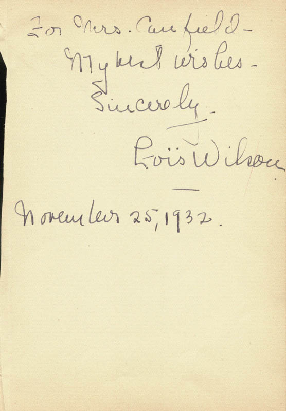 Image 1 for Lois Wilson - Autograph Note Signed 11/25/1932 - HFSID 83978