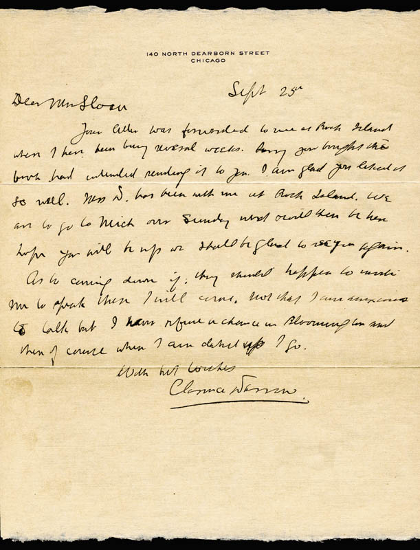Image 1 for Clarence Darrow - Autograph Letter Signed 09/25/1923 - HFSID 84388