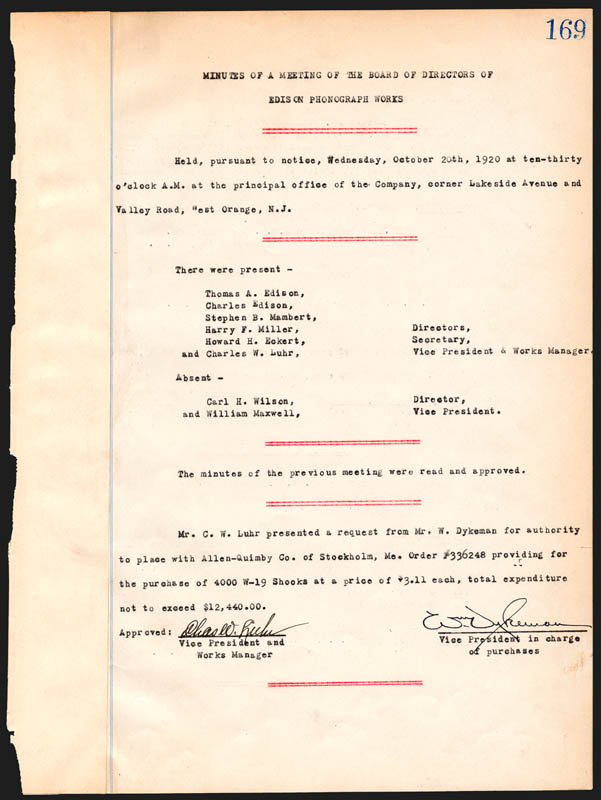 Image 1 for Thomas A. Edison - Corporate Minutes Signed 10/20/1920 with co-signers - HFSID 84395